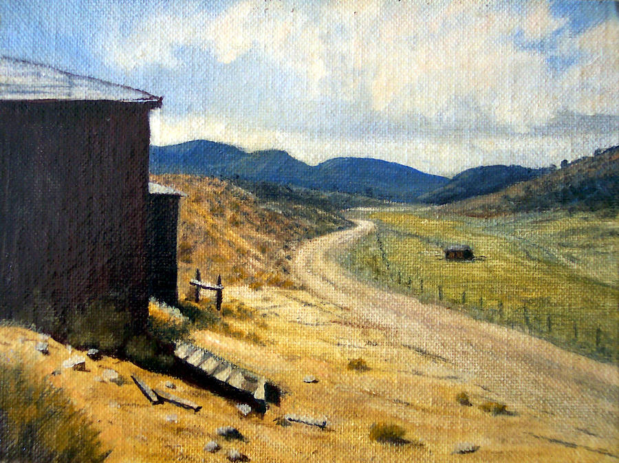 Ghost Town Painting - Historic Stage Coach Road Virginia City Bodie Sweetwater Road Nevada by Evelyne Boynton Grierson