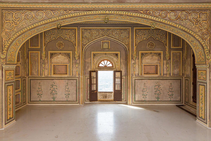 Historic Wall Painting In Nahargarh Fort Jaipur Rajasthan By Henning Marquardt