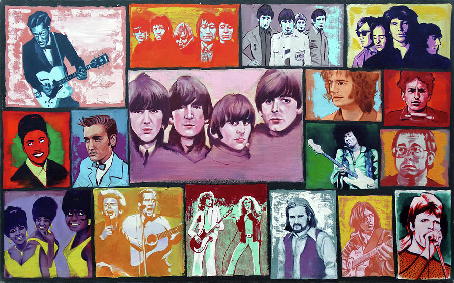 Music Painting - History of Rock and Roll by Duane Potosky