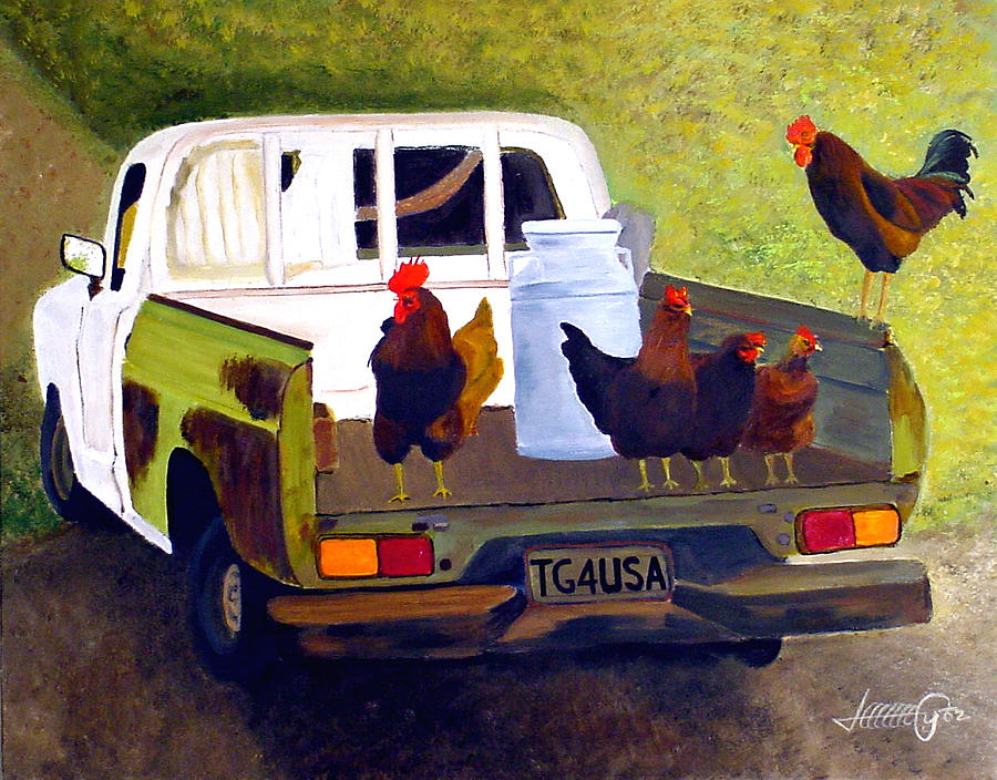 Truck Painting - Hitchin A Ride To Town by JoeRay Kelley