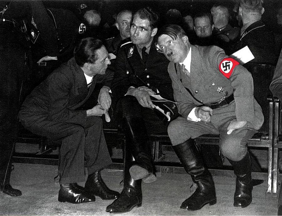 Hitler Conferring With Joseph Goebbels Circa 1936 Color ...