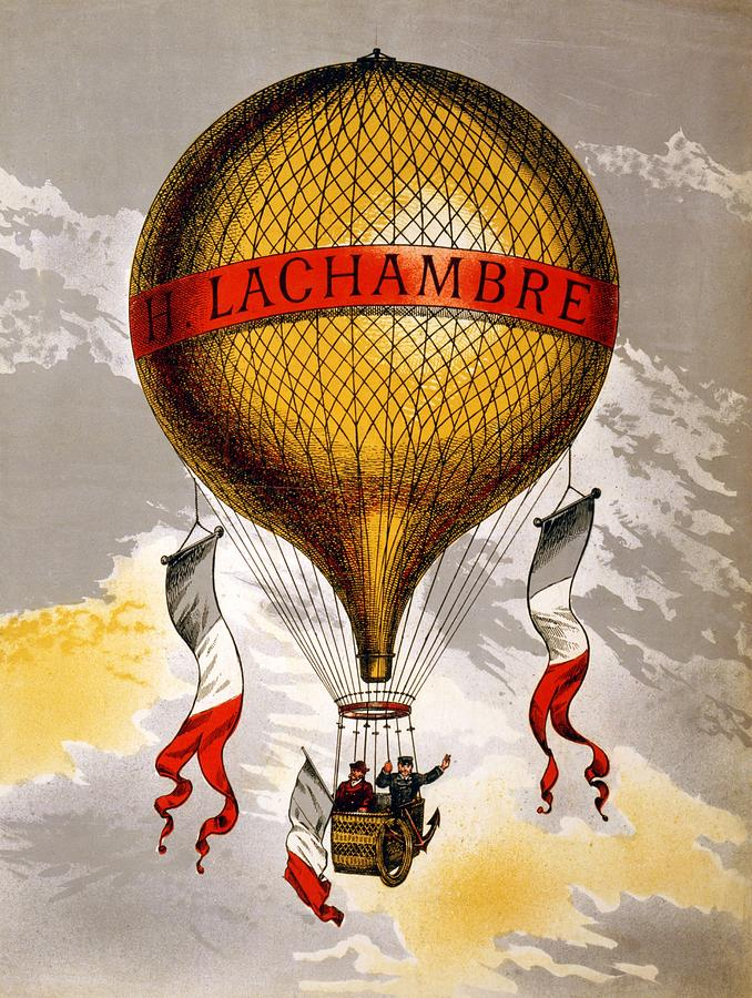 H.lachambre - Two Men Flying In A Hot Air Balloon - Retro Travel Poster - Vintage Poster Mixed Media