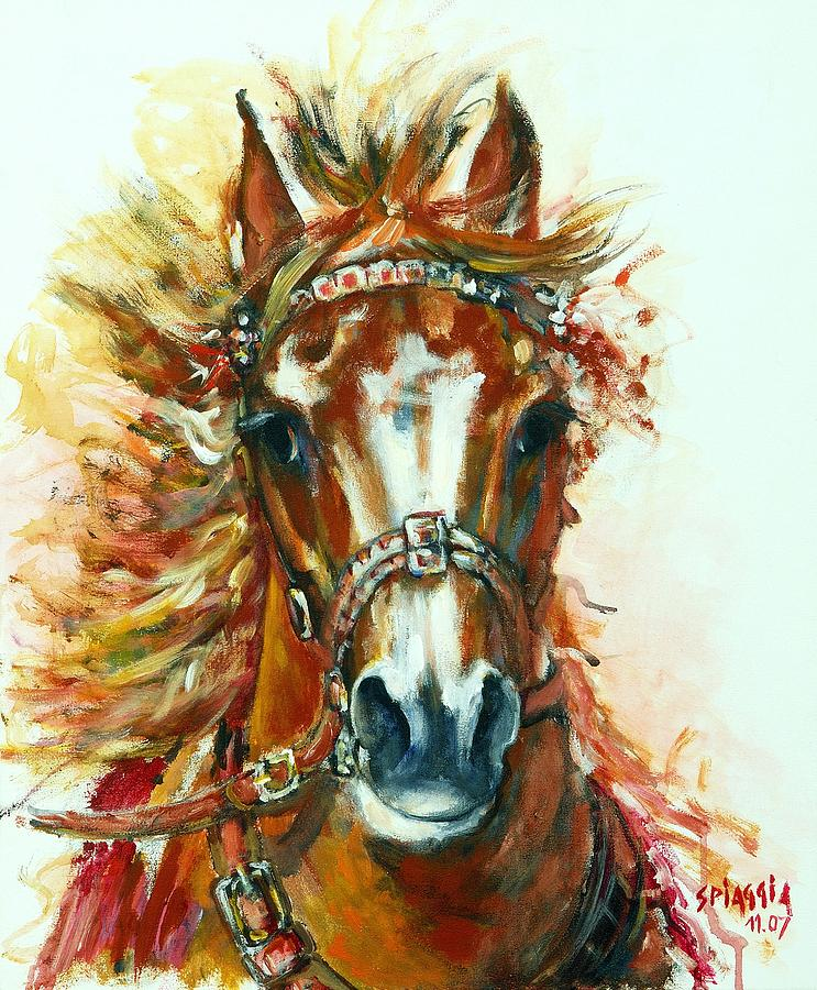 Horse Painting - Hmar Pur-sang Arabe by Josette SPIAGGIA