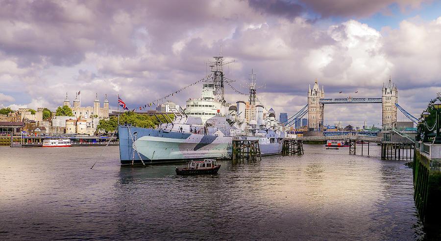 Belfast Photograph - HMS Belfast and Tower Bridge by Geoff Eccles