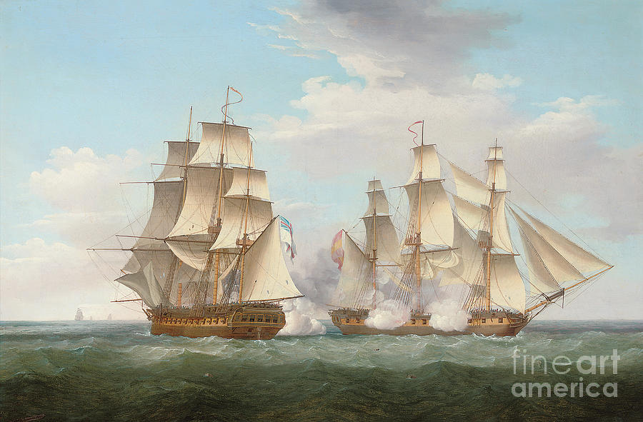 Spanish galleon paintings fine art america spanish galleon painting hms ethalion in action with the spanish frigate thetis off cape finisterre publicscrutiny Choice Image
