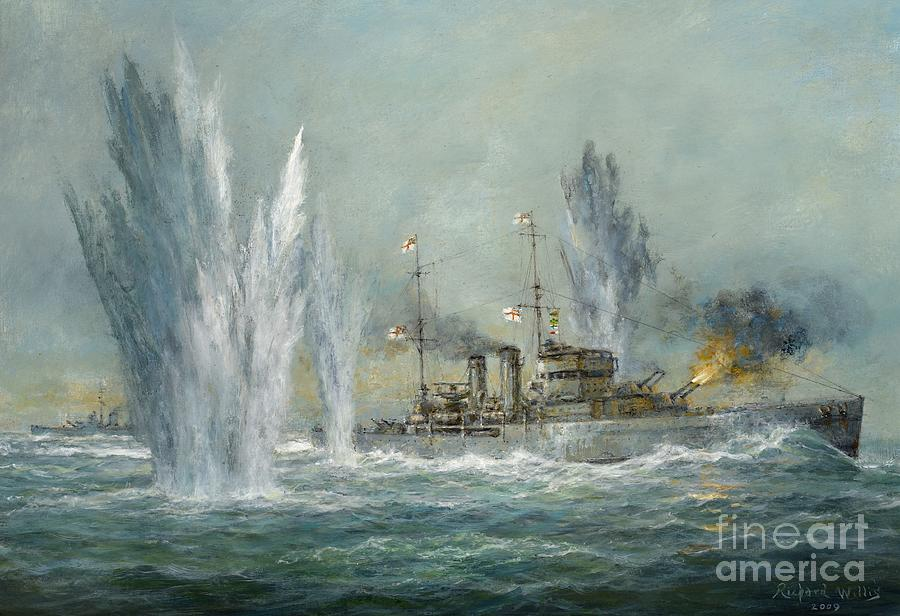 War Painting - Hms Exeter Engaging In The Graf Spree At The Battle Of The River Plate by Richard Willis