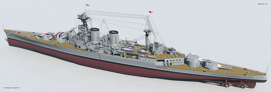 Hms Hood Digital Art - Hms Hood 1937 - Stern To Bow Tech by Christopher Snook