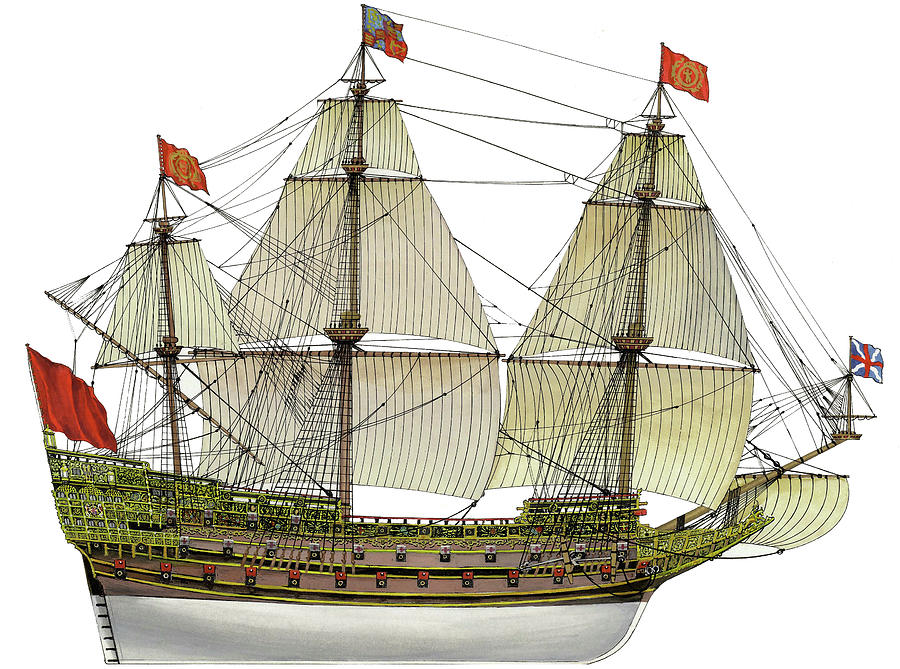 Sovereign Drawing - HMS Sovereign of the Seas by The Collectioner