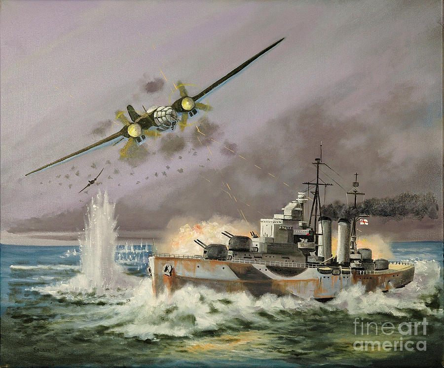 Royal Navy Painting - Hms Ulysses Attacked By Heinkel IIis Off North Cape by Glenn Secrest