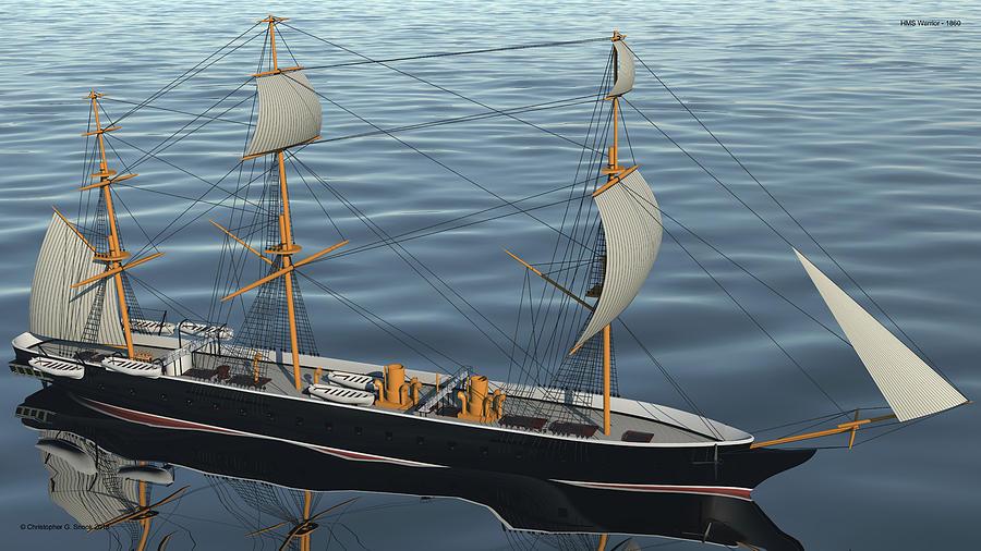 Hms Warrior Digital Art - Hms Warrior 1860 - Bow To Stern Ocean by Christopher Snook