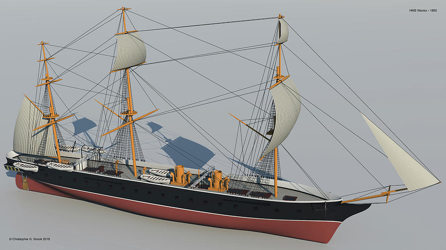 Hms Warrior Digital Art - Hms Warrior 1860 - Bow To Stern Technical by Christopher Snook