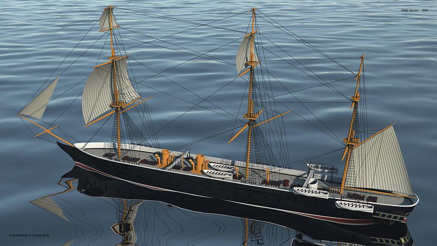 Hms Warrior Digital Art - Hms Warrior 1860 - Stern To Bow Ocean by Christopher Snook