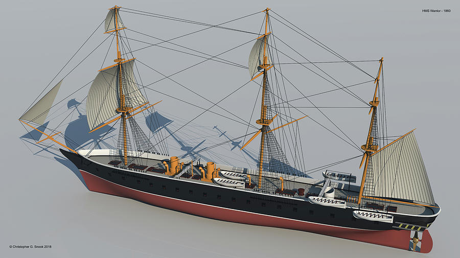 Hms Warrior Digital Art - Hms Warrior 1860 - Stern To Bow Technical by Christopher Snook