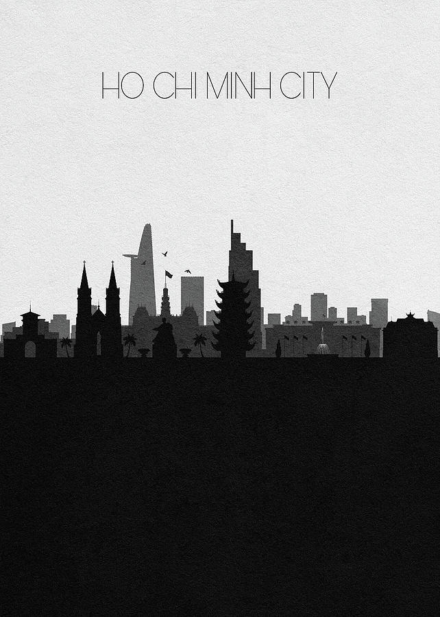 Ho Chi Minh City Digital Art - Ho Chi Minh City Cityscape Art by Inspirowl Design
