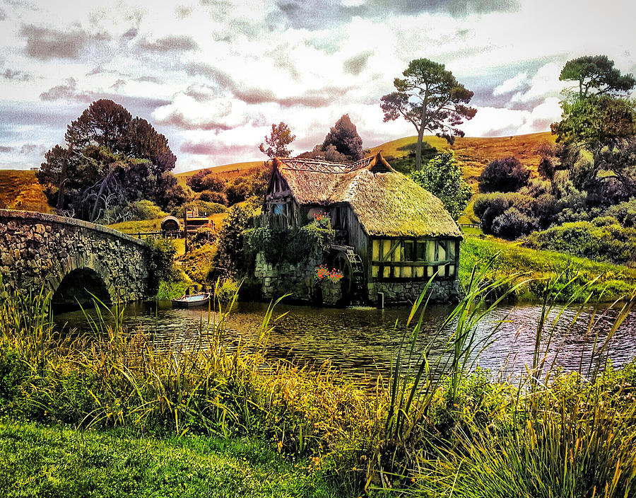 Hobbiton mill and bridge photograph by kathy kelly for Landscaping companies in new zealand