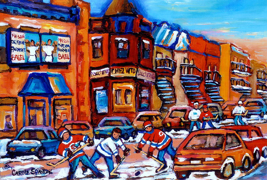 Winter Sports Painting - Hockey At Fairmount Bagel by Carole Spandau