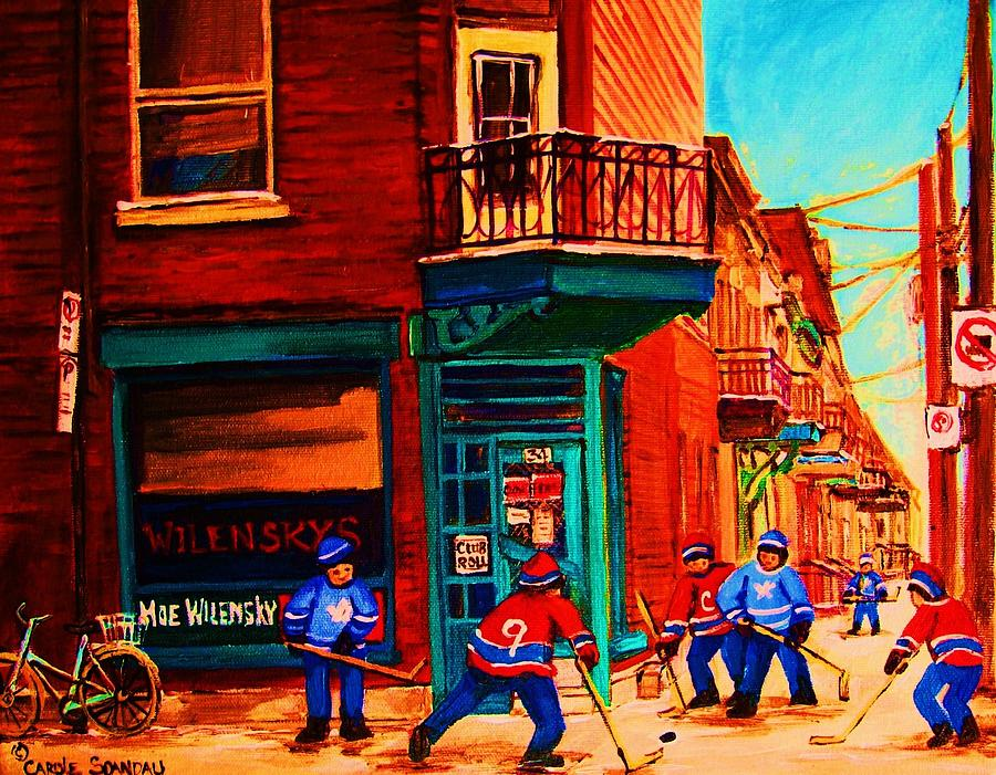 Hockey Painting - Hockey At Wilenskys Corner by Carole Spandau