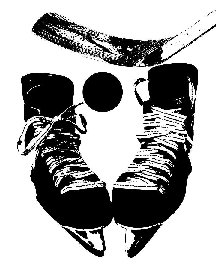 Hockey digital art hockey poster black white by flo karp