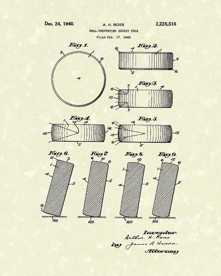 Hockey Drawing - Hockey Puck by Prior Art Design