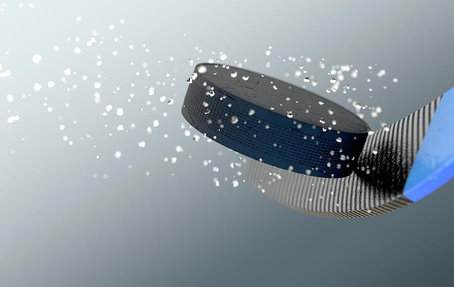 Strike Digital Art - Hockey Puck Striking Stick In Slow Motion by Allan Swart