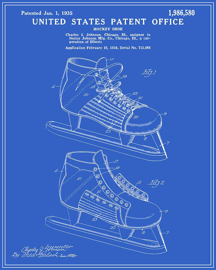 Hockey skate patent blueprint digital art by finlay mcnevin patent digital art hockey skate patent blueprint by finlay mcnevin malvernweather Gallery