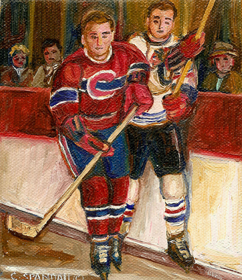 Hockey Painting - Hockey Stars At The Forum by Carole Spandau