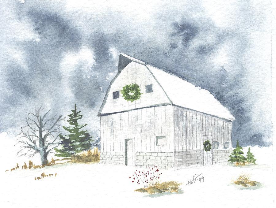Landscape Painting - Hoff Horsebarn by Denise   Hoff