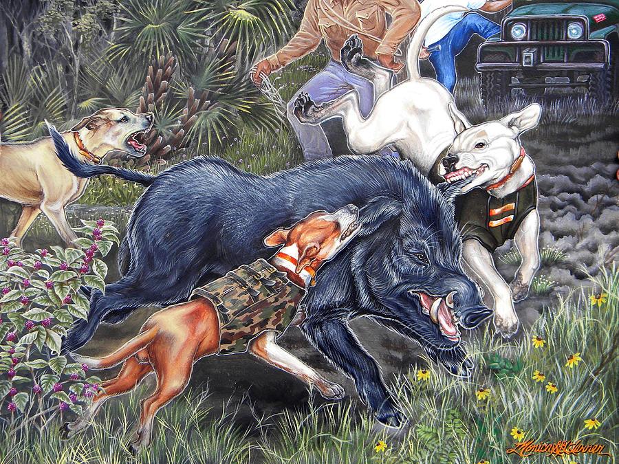 Hog Painting - Hog Hammock Earrings by Monica Turner