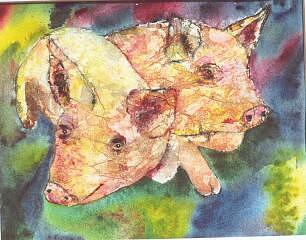 Pigs Painting - Hog Marketers by Naomi Gerrard