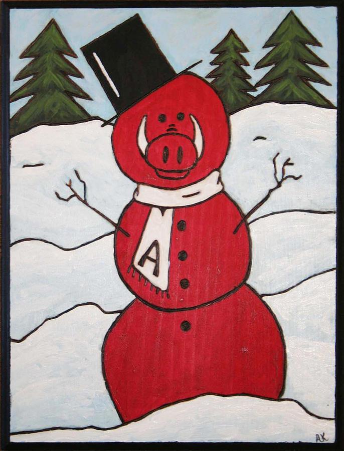 Arkansas Razorbacks Painting - Hog Snowman by Amy Parker