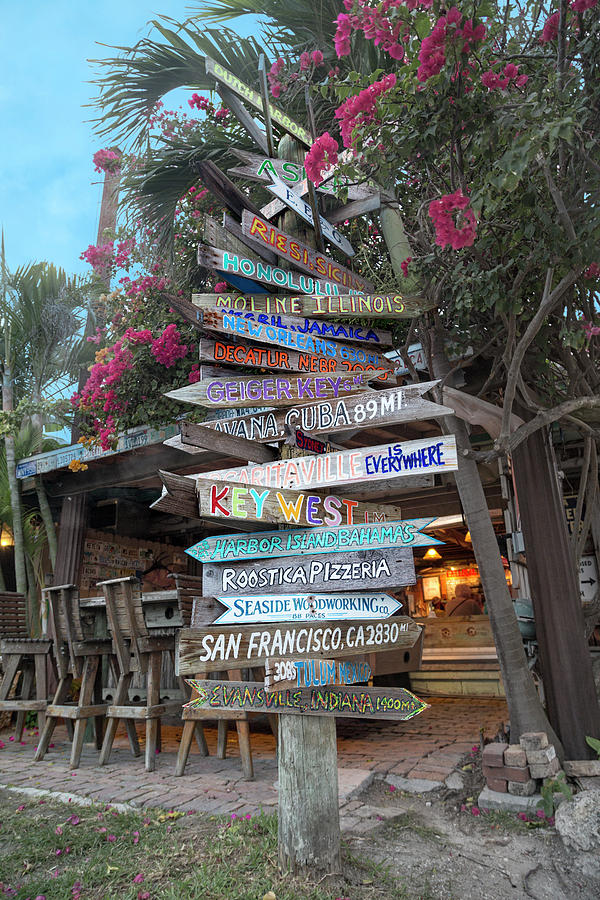 Key Photograph - Hogfish Bar And Grill Directional Sign by Betsy Knapp