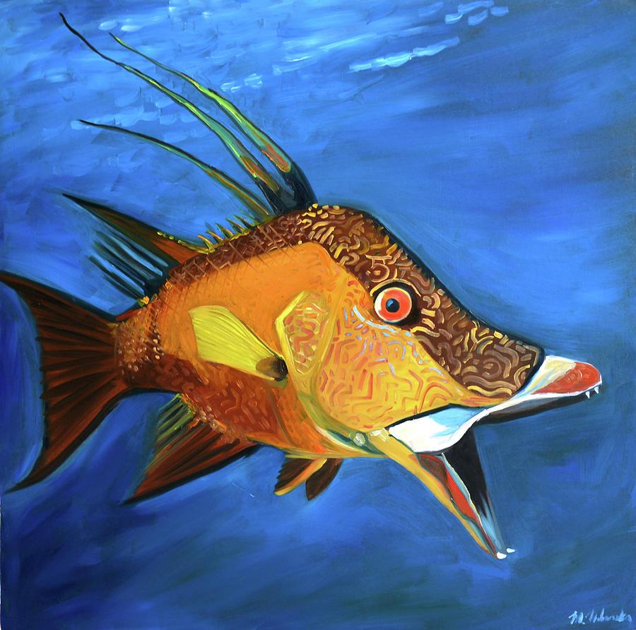 Hogfish Painting - Hogfish by Monika Urbanska