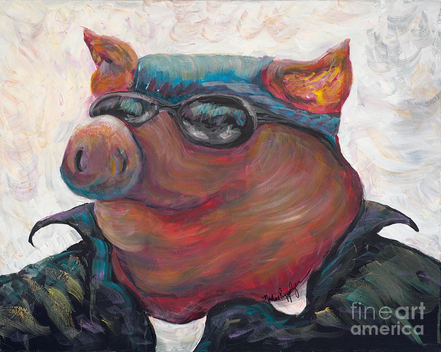 Hog Painting - Hogley Davidson by Nadine Rippelmeyer