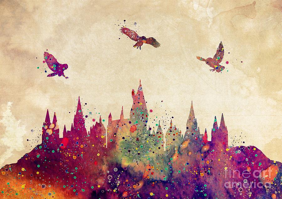 Hogwarts Castle Digital Art - Hogwarts Castle Watercolor Art Print by White Lotus