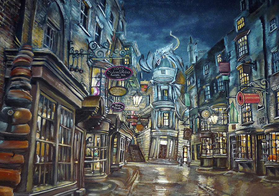 Diagon Alley Digital Art - Hogwarts Diagon Alley  by Midex Planet