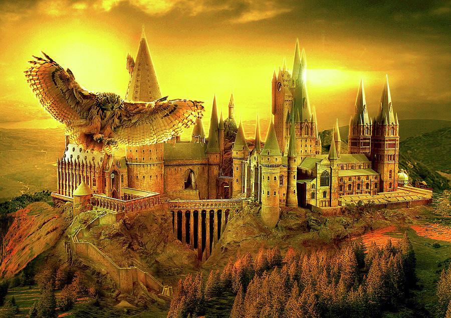 Hogwarts Poster Digital Art - Hogwarts Golden Owl by Midex Planet