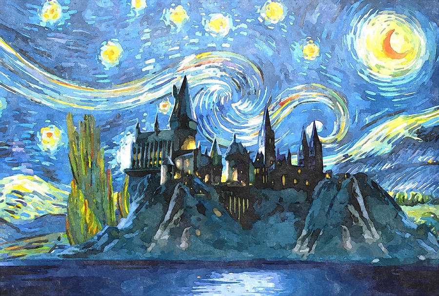 Harry potter starry night painting by midex planet - Hogwarts at night wallpaper ...