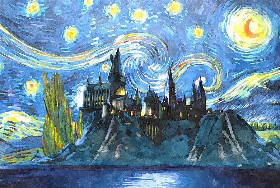 Blue Digital Art - Blue Hogwarts Poster by Midex Planet