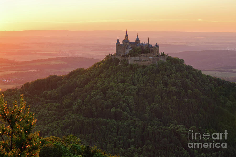 Hohenzollern Castle Photograph - Hohenzollern Castle At Sunset by Yair Karelic