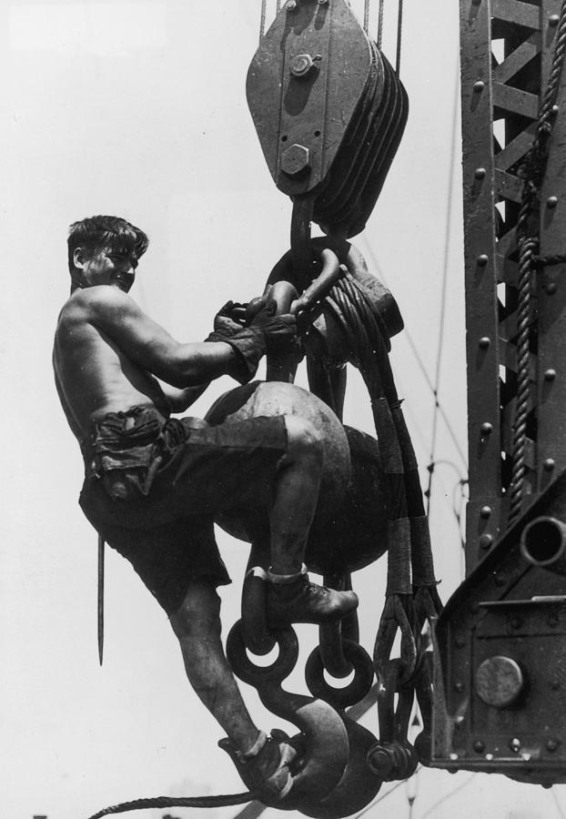 Young Adult Photograph - Hoist Ride by Lewis W Hine