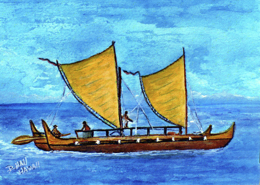 Outrigger Painting - Hokulea Hawaiian Ocean Going Outrigger Canoe #49 by Donald k Hall