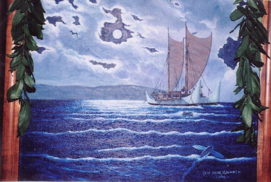 Seascape Painting - Hokulea-hawaiian Voyaging Soc. by Leif Thor Kvammen
