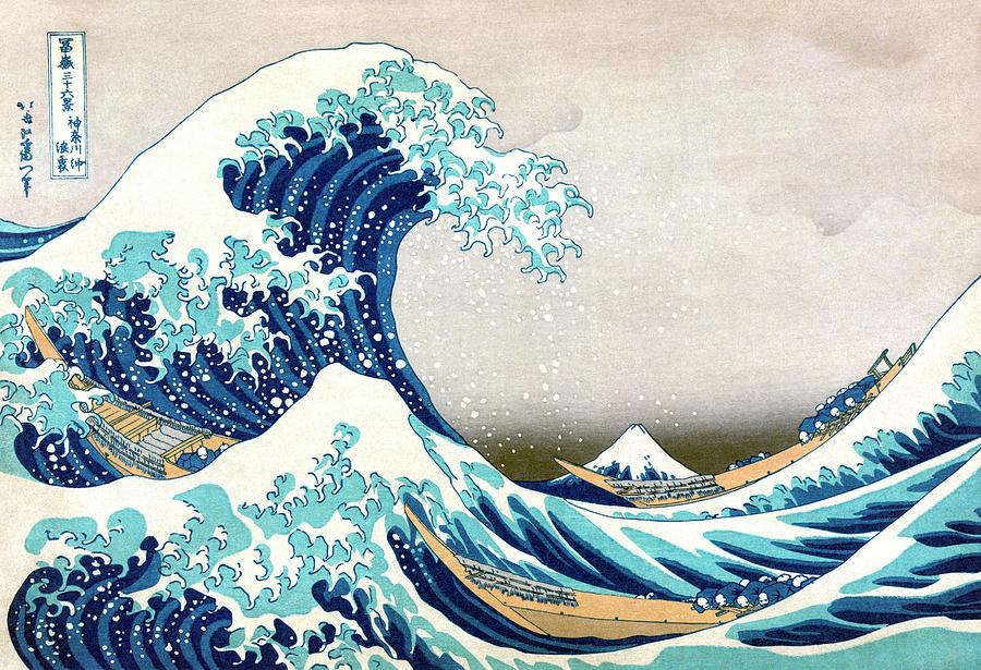 Japanese Painting - Hokusai Great Wave Off Kanagawa by Katsushika Hokusai