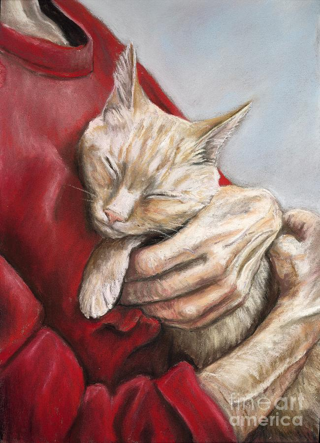 Cat Painting - Hold Me Tight by Charlotte Yealey