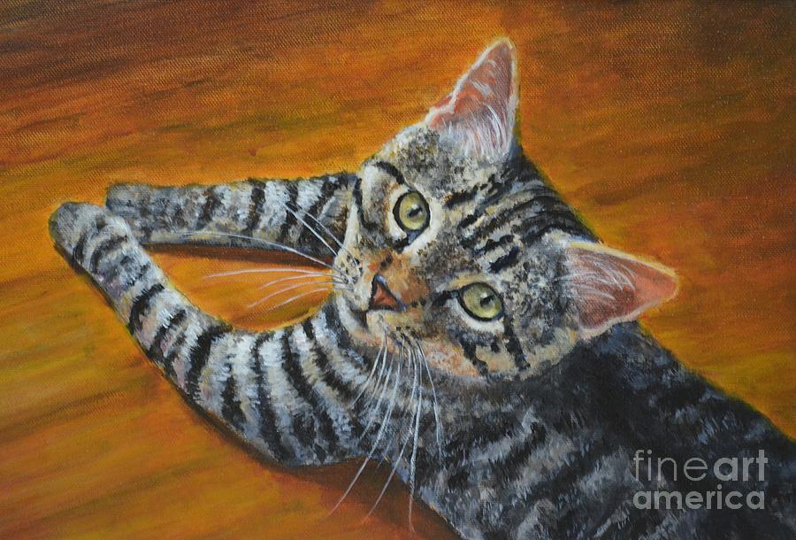 Cat Painting - Holding Down The Floor by Jana Baker