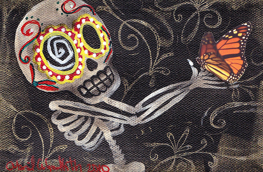Day Of The Dead Painting - Holding Life by  Abril Andrade Griffith