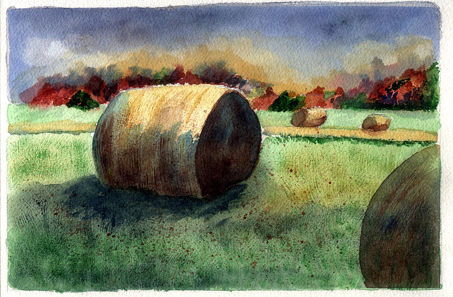 Hay Painting - Holding Off The Storm by Jane Croteau