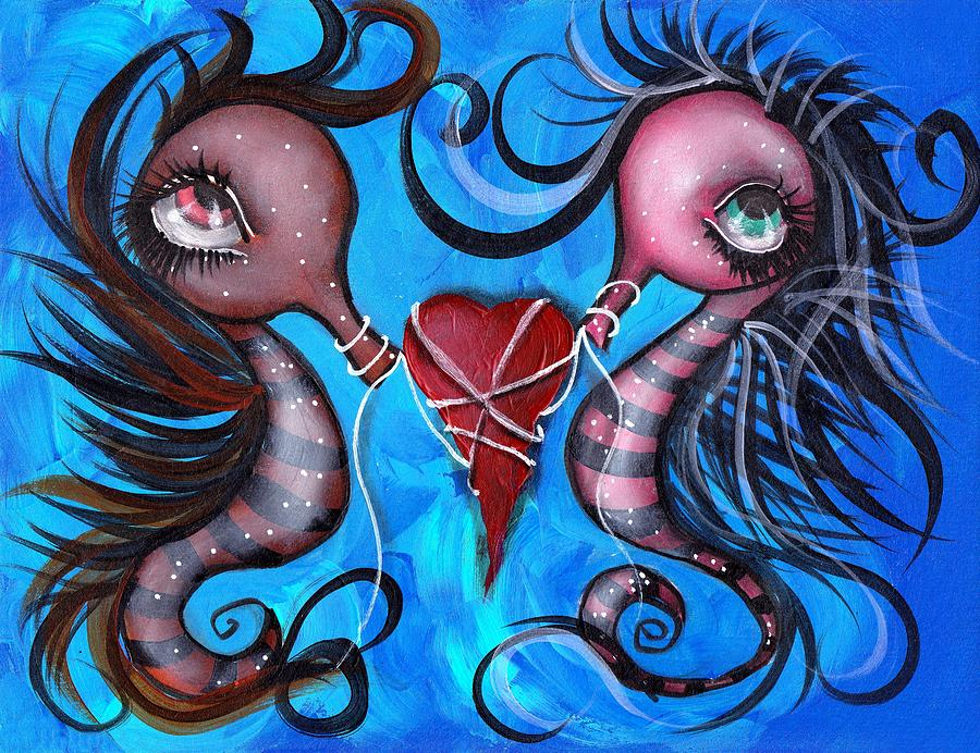 Seahorse Painting - Holding Our Love by  Abril Andrade Griffith