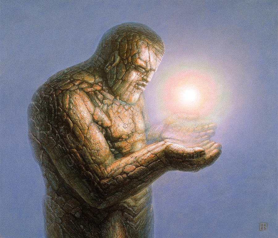 Stone Painting - Holding The Light by De Es Schwertberger