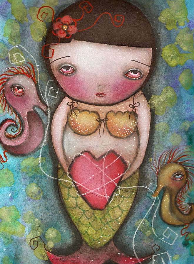 Mermaid Painting - Holding Tight by  Abril Andrade Griffith